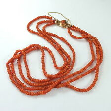 Superb Antique Coral Bead 3 Strand Necklace Rose Gold Clasp & 14ct Safety Chain