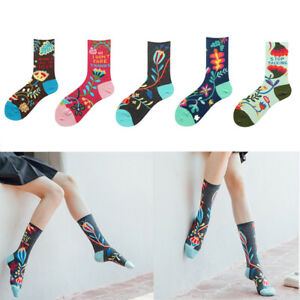 Ladys Womens Cotton Crew Socks Warm Novelty Jacquard Flower Dress Sock Pile Sock