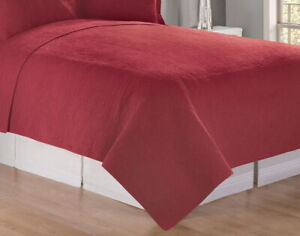 BRICK RED MATELASSE Queen QUILT 90x92 : 100% COTTON CHRISTMAS BED COVERLET