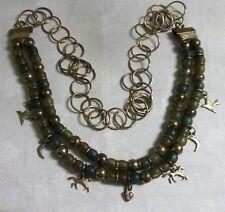 "Brasstone Metal Green Plastic Bead Horse Bird Moon Heart Charms 44"" Necklace"