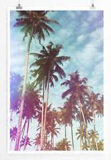 Poster Bunter Himmel mit Palmen