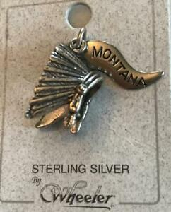 Native American Indian Chief Headdress Sterling Silver Charm Montana Signed WM