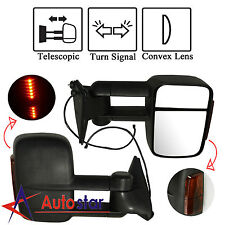 LED Signal Manual Towing Hauling Mirror Pair For 88-98 Chevy C/K 1500/2500/3500