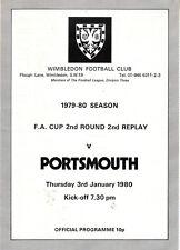 WIMBLEDON V PORTSMOUTH FA CUP 2nd REPLAY 3 JAN 1980 VGC RARE!