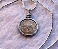 """African Elephant & Palm Tree Coin Pendant on a 24"""" 18k White Gold Filled Chain"""