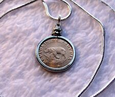 "African Elephant & Palm Tree Coin Pendant on a 24"" 18k White Gold Filled Chain"