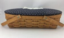 Longaberger 2008 Medium Oval Gathering Basket w Fabric Piece and Lid
