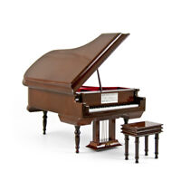 Solid Wood Brown Piano Music Box with Compartment for Rings and Earrings