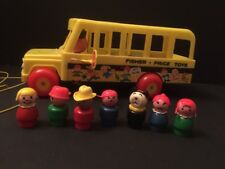 Vintage Fisher Price School Bus Little People Wood 1965