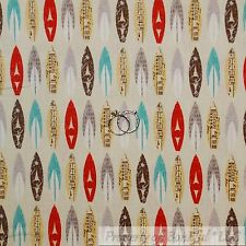 BonEful Fabric Cotton Quilt Brown White Red Teal Blue Beach VTG Surf Board SCRAP
