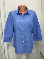 Van Heusen Womens  Blouse Blue White Cotton polyester Button L large New