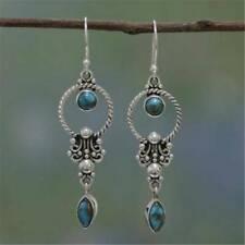 Natural Stone Pendant Turquoise Gemstone Dangle Hook Earring Retro Thai Silver