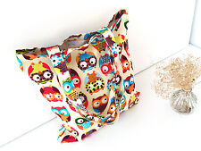 Funny Owl Linen Cotton Capacity Women Shopping Shoulder Bag Tote Totes Handbags