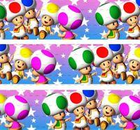"1"" 2 YARDS Super Mario Brothers Grosgrain Ribbon Cards Gift Wrap Mushrooms Pink"
