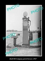 OLD POSTCARD SIZE PHOTO OF SHELL OIL COMPANY PETROL BOWSER c1947