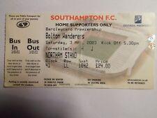 Southampton FC - Bolton Wanderers - 03/05/2003 - Ticket football