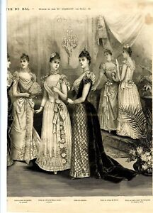 French MODE ILLUSTREE SEWING PATTERN December 21,1890  - Ball gowns