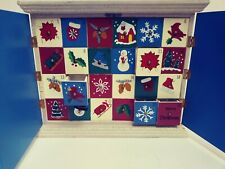 Large Wooden Advent Calendar Box Reindeer Snowmen Christmas Countdown Decor