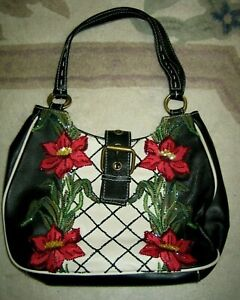 LEATHER SHOULDER BAG IN BLACK BEADED FRONT WITH RED FLOWERS BY ISABELLA FIORE