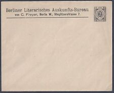 GERMANY 1900 BERLIN PRE-PRINTED 2pf PACKET COVER BERLIN LITERARY BUREAU UNLISTED
