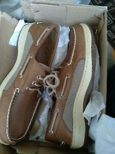 Men's Sperry Top-Sider Billfish 3-Eye Boat Shoes Dark Tan Leather Size 11 NEW