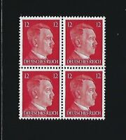 MNH stamp block / Adolph Hitler / PF12 / WWII Germany / 1941 Third Reich issue