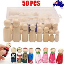 50pcs Wooden Peg Doll People Nesting Set Unfinished DIY Craft Art Painting Toy