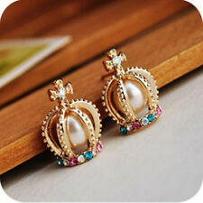 Gorgeous Gold Plated Pearl Crystal Princess Crown Stud Earrings