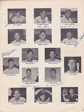 Cleveland Indians 1952 Baseball Magazine page signed by 8 with Harry Simpson
