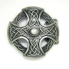 Mens Silver Celtic Irish Knot Belt Buckle Keltic Weave Medieval Cross Shield New