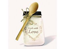 Ceramic Mason Jar Spoon Rest Holder with Spoon Primitive Country Home Decor
