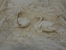 Vintage LARGE BROWN SWANS with BABIES Fabric Remnant (60cm x 55cm)