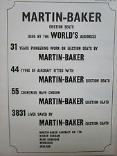 5/1975 PUB MARTIN BAKER  EJECTION SEAT WORLD'S AIR FORCES 3831 LIVES SAVED AD