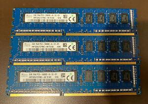 SET OF THREE SK Hynix 2GB 1Rx8 PC3-10600E Memory RAMHMT325U7CFR8C. 6gb Total