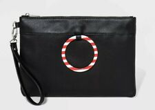 """Mad Love"" Black Bag Candy Cane 11""x8"" Leather-look Wristlet Purse—NEW WITH TAGS"
