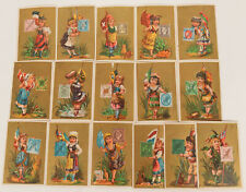 16 Philatelic Store Cards of Cancelled European Stamps, country flags, & attire