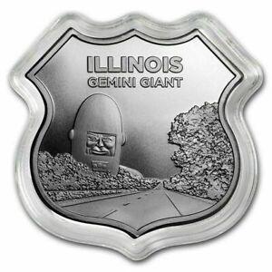 ILLINOIS Gemini Giant ROUTE 66 1 Oz Silver .999 Shield Shaped Coin APMEX RARE
