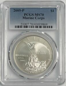2005 P Marine Corps Commemorative Silver Dollar PCGS MS70
