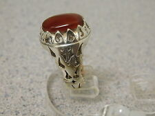 COSTUME DESIGN HAND MADE CARVE CUT MEN'S SILVER RING, GENUINE YEMAN AQEEQ