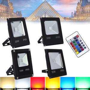 10-50W RGB Projecteur LED Lampe d'ambiance 16 couleurs avec Télécommande