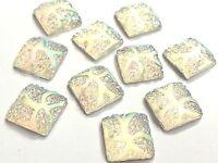 10 Adhesivo Para Coser PEDRERÍA Resina AB BLANCO 14mm CUADRADO Cristal GEMAS