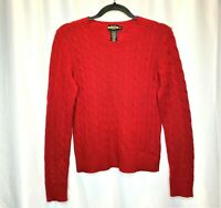 Polo Ralph Lauren Rugby Womens Medium Red Cable Knit Sweater Long Sleeve Shirt