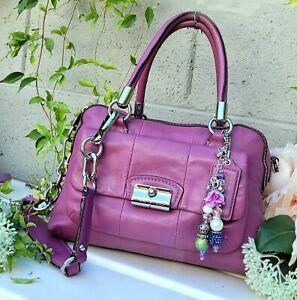 COACH Kristin berry/mauve purple Leather Pleated Satchel purse Handbag 15339