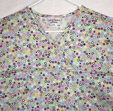 Peaches Scrub Top Large Blue Pink Circles Dots 2 Patch Pockets Bright Colors 439