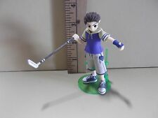 """#A690 Pangya Anime 3.75""""in Brown Hair Boy Tan Shorts w/Golf Club"""