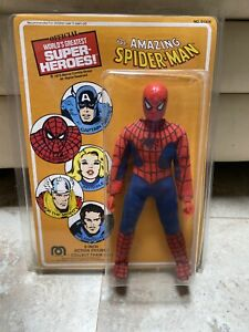 1975 Mego The Amazing Spider-Man 8 inch Action Figure Open W Repro Card In Case