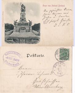 AK Rüdesheim Denkmal RÜDESHEIM 9.10.98 Ank. SÜSSEN 10 OKT 98 (Lkr. Göppingen)