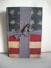 Primitive Prim Painted Book American Flag Stars Stripes Shelf Sitter Americana