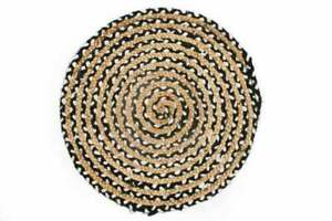 Rug Braided Round Colorful Natural Reversible Cotton Jute Rag Rug Various Size
