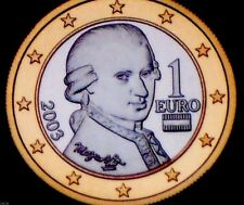 Rare Piece Autriche Monnaie Officiel Neuve 1 Euro Mozart 2003 Du Set Unc